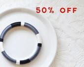 Black and White Thread Colorblock Bangle Bracelet - no. 511  Tuxedo