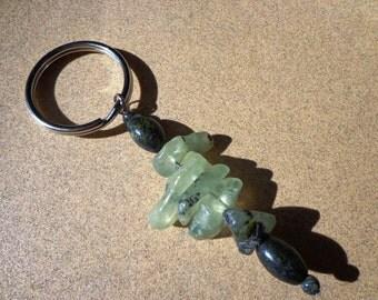 Key Ring Prehnite and Serpentine Gemstones on Split Ring