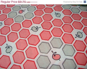 SALE Pink Honeycomb Folk Tale by Natalie Lymer for  Lecien print one yard