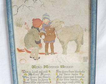 Kind Mother Sheep, The Gibson Art Co, picture, Vintage 1922, framed picture, vintage Poem, blue frame, vintage collectible, nursery decor