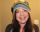 Flower Patch Work Field Trip Crochet Brimmed Slouchy Newsboy Beanie Hat Adult