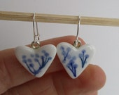 Delft blue Porcelain heart earrings -  Blue and white ceramic- Dutch Delftware - Made in Amsterdam  Sterling Silver Earring Hooks