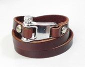 Leather Bracelet Leather Cuff Brown Leather Wrap Bracelet with Metal Alloy Shackle Clasp