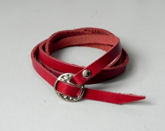 Red Leather Cuff Leather Bracelet Wrap Leather Bracelet