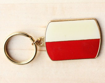 Vintage Gold Polish Flag Keychain