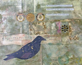Fine Art Print of Original Mixed Media Bird Art Collage Unseen Cosmic Forces