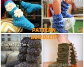 Best Value! Crochet Pattern BUNDLE- Buy all 4 and SAVE!!! - Women's, Men's, Youth, & Toddler's Cozy Slipper Boots