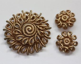 Coro Gold Tone Swirl Brooch and Earrings Set Vintage