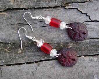 Cultured Sea Glass Burgundy Sand Dollar and Crystal Earrings