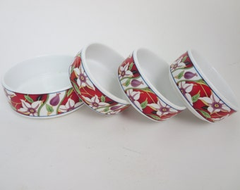 Vintage Dipping Dish - Shallow dish, Sauce Dish, Change Dish plate - Trinket Dish, Stackable Dishes, Asian Porcelain Dishes with Red Flowers