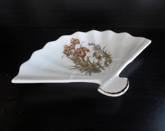 Vintage Fan Shaped Candy Trinket Jewelry Dish -  White Porcelain Fan shaped Dish with Flowers  - Made in Japan