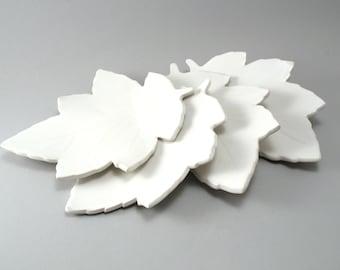 Leaf Plates-Set of Four-Pottery Plate-Leaf-White-Handmade-Stoneware Slab-Classic White Glaze-Ready to Ship