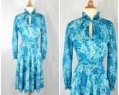 70s Vintage Blue Floral Accordion Pleat Dress  Keyhole Tie Neckline  small to medium