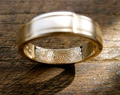 Finger Print Wedding Band in 14K Yellow Gold with Matte Center and Glossy Edges Size 8/5mm
