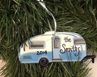 Camper ornament Personalized.  Turquoise blue  and white