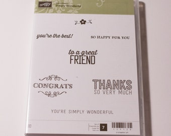 Stampin' Up Simply Wonderful retired clear mount stamp set