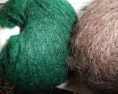Alpaca Yarn Brown lot of 6 Skeins and Kid Mohair Green lot of 4 Skeins