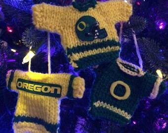3 hand knit Oregon Ducks Christmas Ornaments