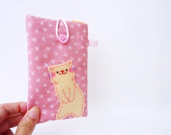 Cat iPhone case pink fabric iPhone 5 unique handmade cat lover gift iPhone 5 mobile padded sleeve cute stocking stuffer for her