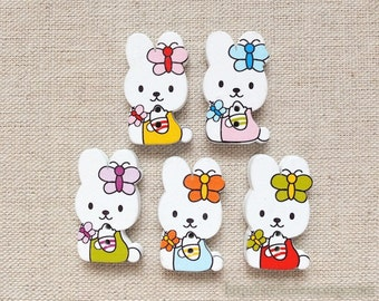 5PCS Wooden Buttons, Printed Color - Sweet Lovely Butterfly Bow Coloful Bunny Rabbits(5PCS, Mix Color Multi Color)