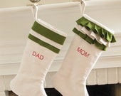 Linen Personalized Christmas Stocking Embroidered White and Green Monogram Ruffle Top