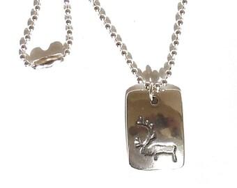 Sterling reindeer petroglyph necklace, caribou pendant, Alaska jewelry
