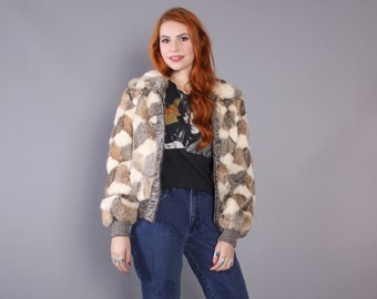 70s RABBIT Fur COAT / 1970s DIAMOND Pattern Fur & Sweater Knit Bomber Jacket