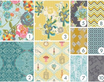 Crib Bedding - French Belle Custom Baby Bedding -  - Pink, Yellow, Aqua, Teal, Gray, Grey