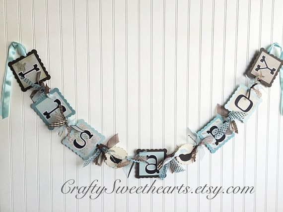 It's a Boy Banner Baby Shower Decoration Blue and Brown Bird Nest Eggs