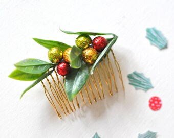 Limited Edition Holiday Glitter Berry Hair Comb, Holiday Party, Winter Wedding, Gift