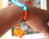 Koi Fish Charm Bracelet - Fish Bracelet - Fish Jewelry - Koi Fish Jewelry - Plastic Jewelry - Boho Bracelet - Stretch Bracelet