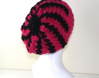 Instant Digital File pdf download - Super Chunky Stripe Swirl Slouch Hat Knitting Pattern