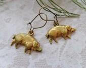 Dirty Lil' Brass Patina Piggy Earrings