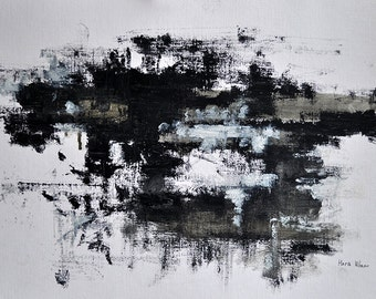 Original Abstract Painting on Paper Black and White Modern Minimalist Cityscape 12x16,5""