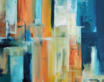 Cityscape Original Abstract Painting Urban City Teal Orange Yellow Modern Art 20x16""