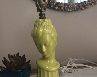 Mid Century Lamp With Lady in Chartreuse