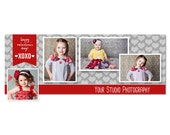 Valentine's Day Facebook Cover Photo Template - Photoshop Template for Photographers - INSTANT DOWNLOAD