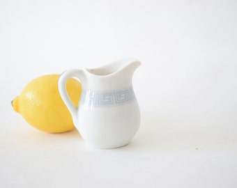 Small Vintage Pitcher . White and Grey Creamer . Lamberton China . Bowman Hotel Pattern