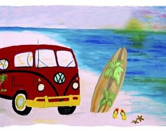 Beach VW Bus and Surfboard Bath, Beach or Hand Towel from my art
