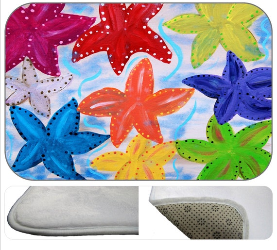 Starfish Party bathmat from my art by maremade on Etsy