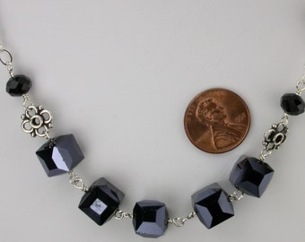 Black Faceted Glass Necklace and Earrings