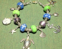 Pandora ocean charm bracelet, Pandora Charm Bracelet, Sea Turtle Bracelet, Starfish bracelet, Fish charm bracelet, Pandora starter bracelet