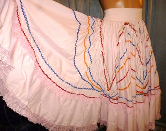Vintage 60's or 70's  - Pink - Embellished - Lace - Cotton - Full Circle - Mexican - Dancing - Skirt - fits waist size 24""