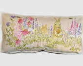 Hand Painted Pillow Rabbits in the Garden Bench Functional Art