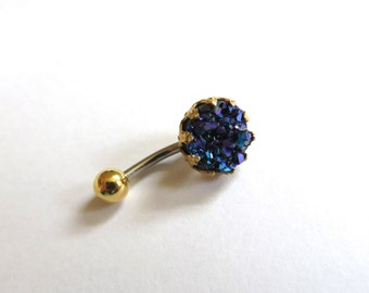 Belly Button Ring Jewelry. Royal Purple Crown Jewel Druzy Crystal Cluster Geode Belly Button Ring Jewelry Navel Piercing Indigo Navy Blue