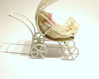 Victorian Baby Carriage- Its a Girl with Baby Buggie