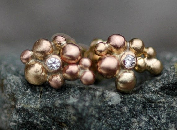 Little Diamonds in Orb Cluster Rose Gold and Yellow Gold Post Earrings- Made to Order