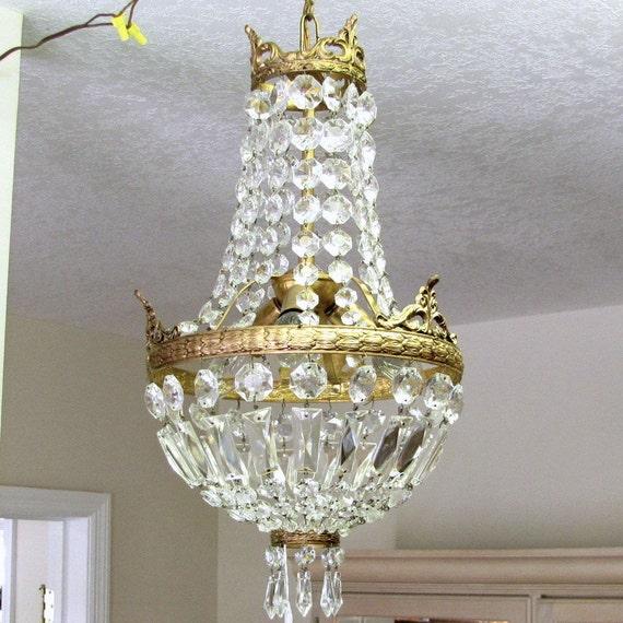 Schonbek Basket Chandelier: Vintage CRYSTAL CHANDELIER Crown Basket Design Lamp Petite