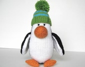 Hand Knit Penguin Stuffed Animal, Ready To Ship, Plush Penguin, Baby Toy, Toddler Gift, Soft Knit Animal, Kids Stuffed Toy Penguin 9 1/2""