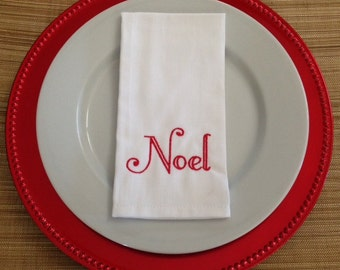 """Holiday """"Noel"""" Embroidered Napkins, Set of Four"""